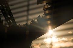 Camminare di tramonto del ponticello di porto di Sydney Fotografia Stock