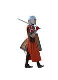 Camminare medioevale del cavaliere. Isolato. Fotografie Stock Libere da Diritti