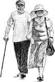 Camminata anziana del coniuge Immagine Stock Libera da Diritti