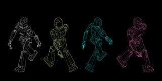 Camminata del carattere del robot Illustrazione del profilo di vettore illustrazione di stock