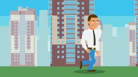 Camminata del personaggio dei cartoni animati stock footage