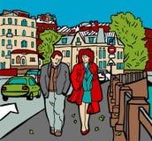 camminata della città royalty illustrazione gratis