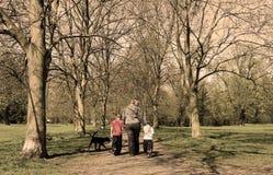 Camminata della famiglia nella sosta (seppia) Fotografie Stock Libere da Diritti