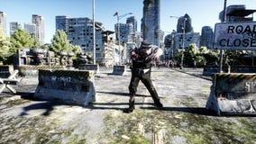 Camminata della folla dello zombie di orrore Città distrutta Vista di apocalisse, concetto rappresentazione 3d royalty illustrazione gratis