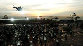 Camminata della folla dello zombie di orrore Vista di apocalisse, concetto rappresentazione 3d Fotografia Stock