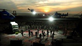 Camminata della folla dello zombie di orrore Vista di apocalisse, concetto rappresentazione 3d Fotografia Stock Libera da Diritti