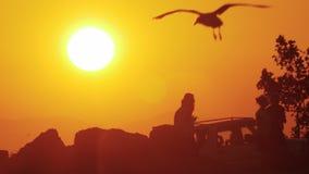 Camminata della gente all'aperto contro il tramonto dorato video d archivio