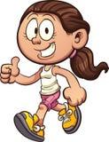 Camminata della ragazza del fumetto Illustrazione Vettoriale