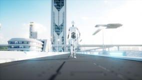 Camminata femminile del robot Città futuristica, città La gente e robot rappresentazione 3d illustrazione di stock