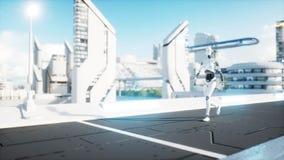 Camminata femminile del robot Città futuristica, città La gente e robot rappresentazione 3d illustrazione vettoriale