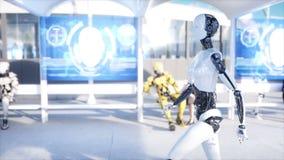 Camminata femminile del robot Stazione di Sci fi Trasporto futuristico della monorotaia Concetto di futuro La gente e robot 4k re illustrazione vettoriale