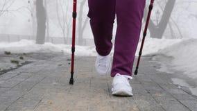 Camminata nordica Giovane donna caucasica paffuta che fa un'escursione con i pali nordici Chiuda su verso il movimento lento dell stock footage