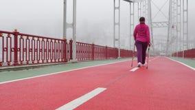 Camminata nordica Giovane donna caucasica paffuta che fa un'escursione con i pali nordici Colpo statico posteriore video d archivio