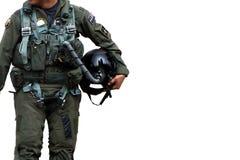 Camminata pilota dell'aeronautica sopra il bianco fotografia stock