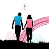 Camminata romantica Fotografia Stock