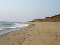Camminata solitaria sulla spiaggia Fotografia Stock Libera da Diritti