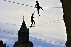 Camminatore del Tight-rope, Lublino, Polonia Fotografia Stock
