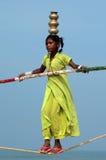 Camminatore indiano errante della corda per funamboli Fotografia Stock Libera da Diritti