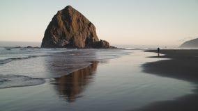 Camminatore isolato dalla roccia del mucchio di fieno, spiaggia 4K del cannone UHD archivi video