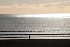 Camminatore sulla spiaggia con il tramonto Immagini Stock
