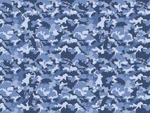 Cammuffi il fondo nei toni blu Immagini stilizzate degli animali selvatici e dei cacciatori illustrazione di stock