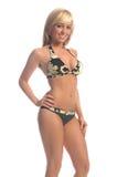 Camo Bikini-Blondine Lizenzfreie Stockfotos