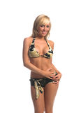 Camo Bikini-Blondine Lizenzfreies Stockbild