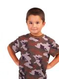 Young Hispanic Boy In Cammo. Little boy wearing Camouflage outfit stock images