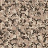 Camo do pixel Teste padrão sem emenda da camuflagem de Digitas Textura militar Cor do deserto de Brown ilustração royalty free
