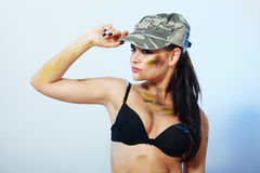 Camo girl in hat Royalty Free Stock Image