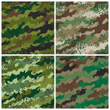Camo Grunge Pattern. A seamless vector camouflage pattern in four colorways with a grunge effect. Repeat size is 6 stock illustration