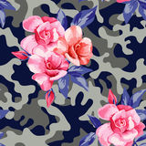 Camo military in pink yellow color with pink roses Stock Images