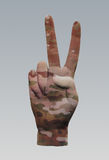 Camo Peace Sign. Camouflage Peace Sign hand signal Stock Photo