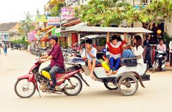 Camodian people ride tuktuk Royalty Free Stock Images