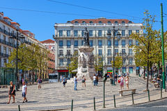 camoes τετράγωνο luis de Λισσαβώνα Στοκ Εικόνες