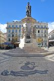 LISBON, PORTUGAL - NOVEMBER 4, 2017: Camoes Square in Bairro Alto neighborhood with Luis de Camoes poet statue and the decorated c. Camoes Square in Bairro Alto Stock Image