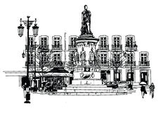 Camoes square in lisbon Royalty Free Stock Photos