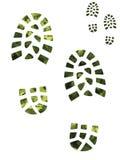 Camoflage en groene laarsaf:drukken Stock Foto