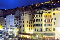 Camogli, Γένοβα, η άποψη νύχτας μαρινών Εικόνα χρώματος Στοκ Εικόνα