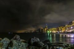 Camogli τή νύχτα Στοκ Εικόνες