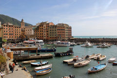 Camogli. The Marina from where depart and arrive boats. Liguria royalty free stock image