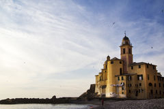 Camogli beach with church Stock Image