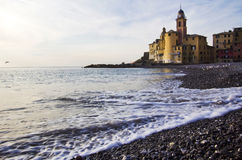 Camogli beach with church Stock Photos