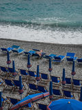 Camogli Beach. A tourist you can enjoy the first hour of the morning in summer Stock Image