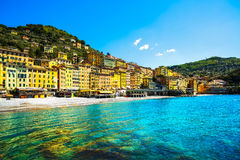Camogli beach and typical colorful houses. Ligury, Italy Royalty Free Stock Photo