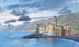 Camogli church and beach - Mediterranean sea - Liguria - Italy stock photo