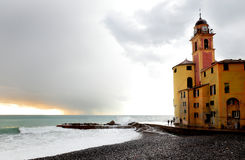 Camogli church in front of the sea Stock Photography