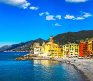 Camogli church on sea and beach view. Liguria, Italy Stock Images