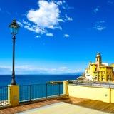 Camogli church on sea, lamp and terrace. Ligury, Italy Stock Photography