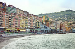 Camogli, cityscape and strand early morning view Royalty Free Stock Photo